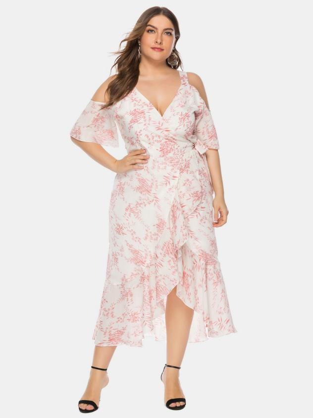 shestar plus size sexy cold shoulder ruffle trim dress